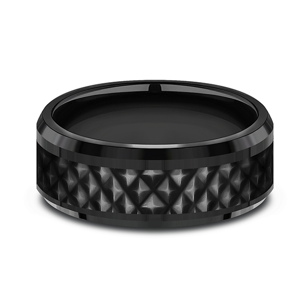 Black Titanium Comfort-fit Design Wedding Band Image 3  ,