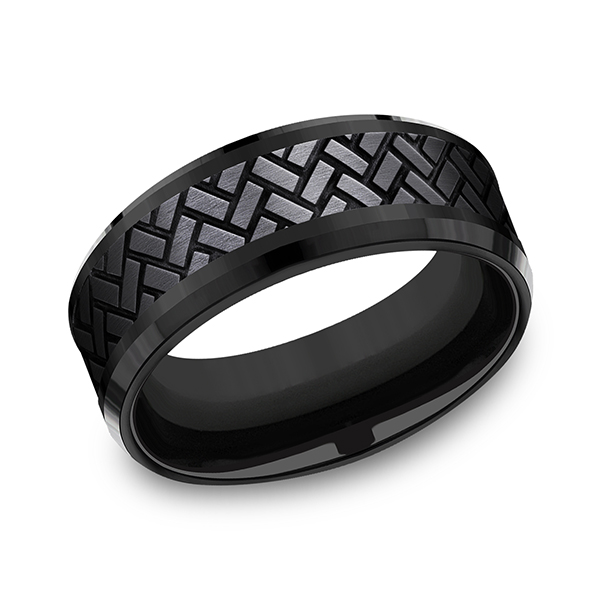 Wedding Rings - Black Titanium Comfort-fit Design Ring