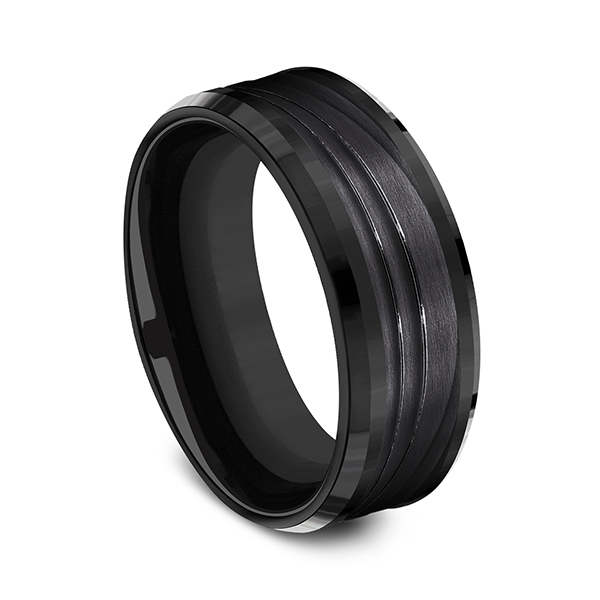 Mens Bands - Black Titanium Comfort-fit Design Ring - image #3