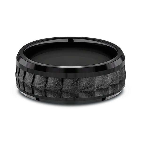 Black Titanium Comfort-fit Design Wedding Band Image 3 Jones Jeweler Celina, OH