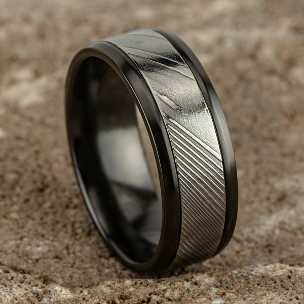 Black Titanium Comfort-fit Design Wedding Band Image 4 Rick's Jewelers California, MD