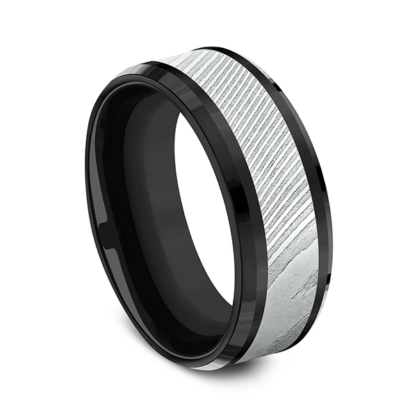 Black Titanium Comfort-fit Design Wedding Band Image 2 Rick's Jewelers California, MD