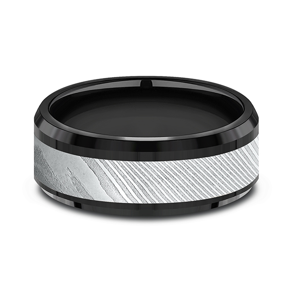 Mens Bands - Black Titanium Comfort-fit Design Ring - image #2