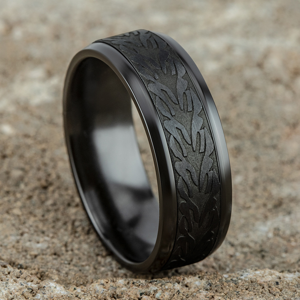 Black Titanium Comfort-fit Design Wedding Band Image 4 Cowardin's Jewelers Richmond, VA