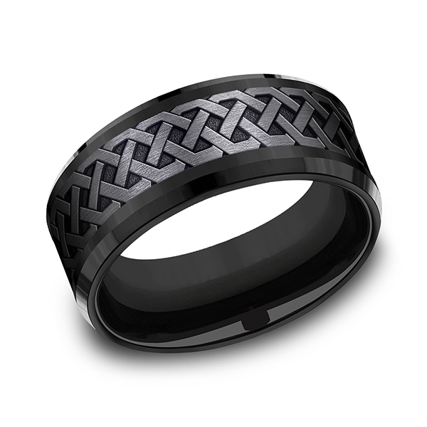Mens Bands - Black Titanium Comfort-fit Design Ring
