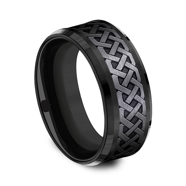 Mens Bands - Black Titanium Comfort-fit Design Ring - image 3