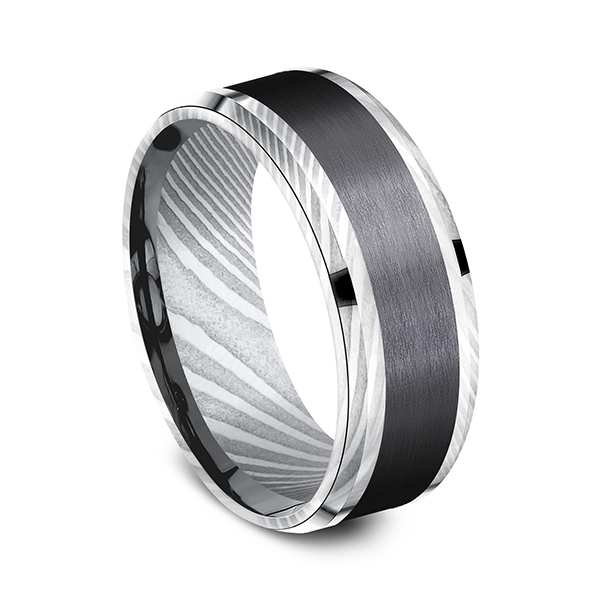 Black Titanium Comfort-fit Design Wedding Band Image 2 Timmreck & McNicol Jewelers McMinnville, OR