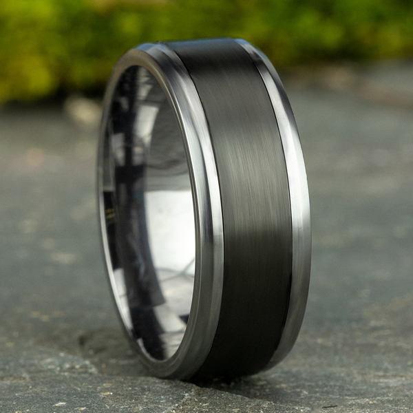 Tantalum and Black Titanium Comfort-fit Design Wedding Band Image 4 Jones Jeweler Celina, OH