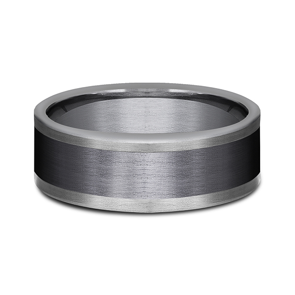 Rings - Tantalum and Black Titanium Comfort-fit Design Wedding Band - image #3