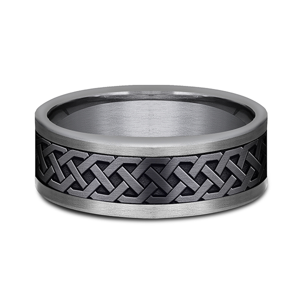 Wedding Bands - Tantalum and Black Titanium Comfort-fit Design Wedding Band - image #3
