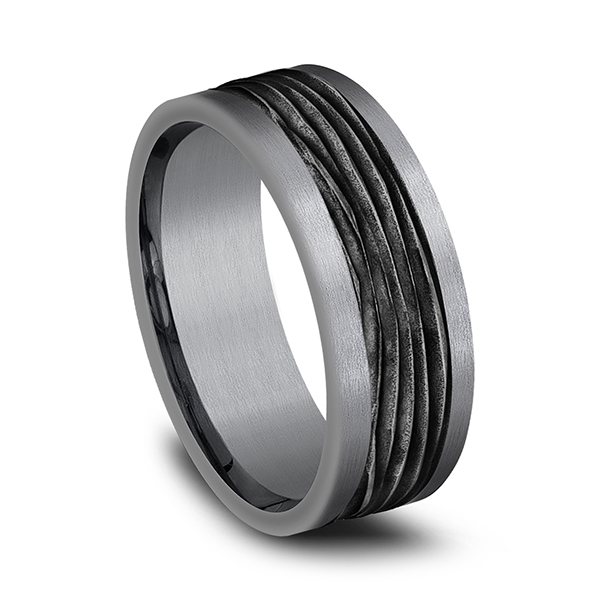 Tantalum and Black Titanium Comfort-fit Design Wedding Band Image 2 Ross's Rings & Things Kilmarnock, VA