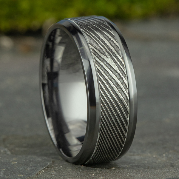 Tantalum and Damascus Steel Comfort-fit Design Wedding Band Image 4 Confer's Jewelers Bellefonte, PA