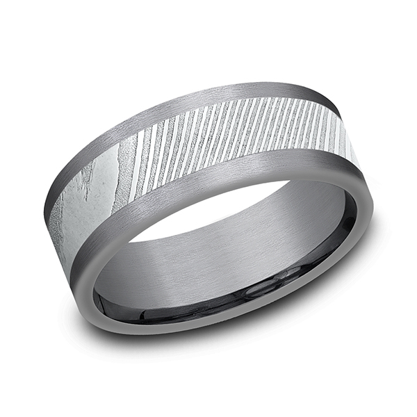 Tantalum and Damascus Steel Comfort-fit Design Wedding Band by Tantalum