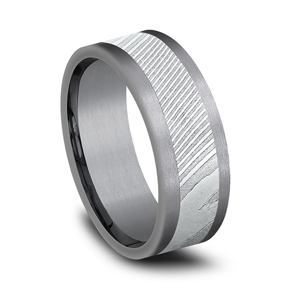Tantalum and Damascus Steel Comfort-fit Design Wedding Band Image 2 Confer's Jewelers Bellefonte, PA