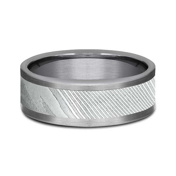 Tantalum and Damascus Steel Comfort-fit Design Wedding Band Image 3 Confer's Jewelers Bellefonte, PA
