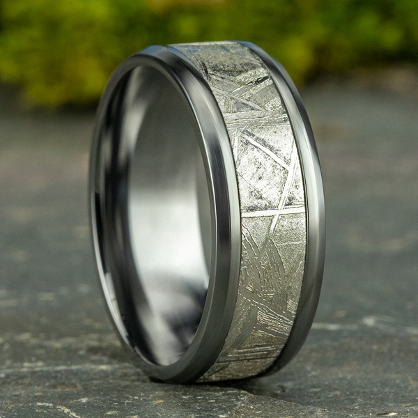 Tantalum and Meteorite Comfort-fit Design Wedding Band Image 4 Confer's Jewelers Bellefonte, PA