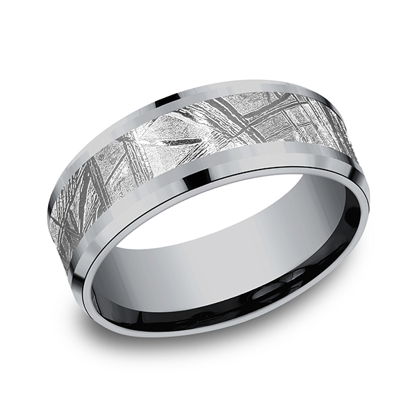 Tantalum and Meteorite Comfort-fit Design Wedding Band Simones Jewelry, LLC Shrewsbury, NJ
