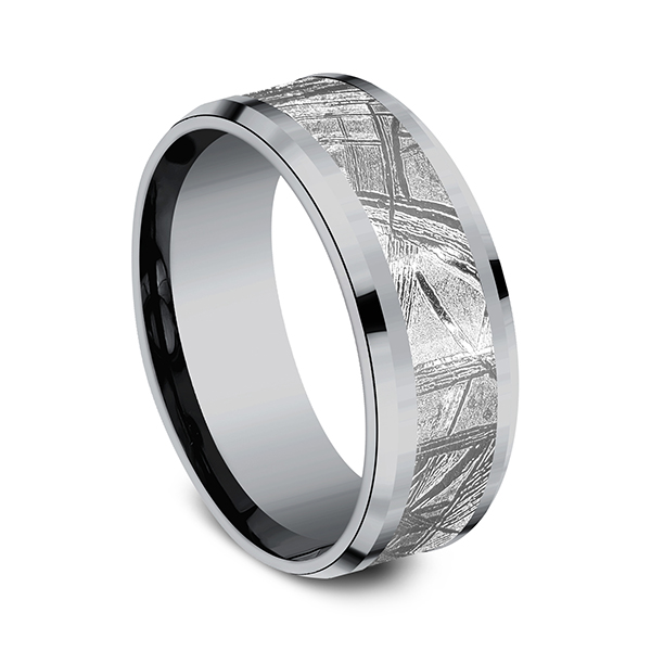 Tantalum and Meteorite Comfort-fit Design Wedding Band Image 2 Simones Jewelry, LLC Shrewsbury, NJ