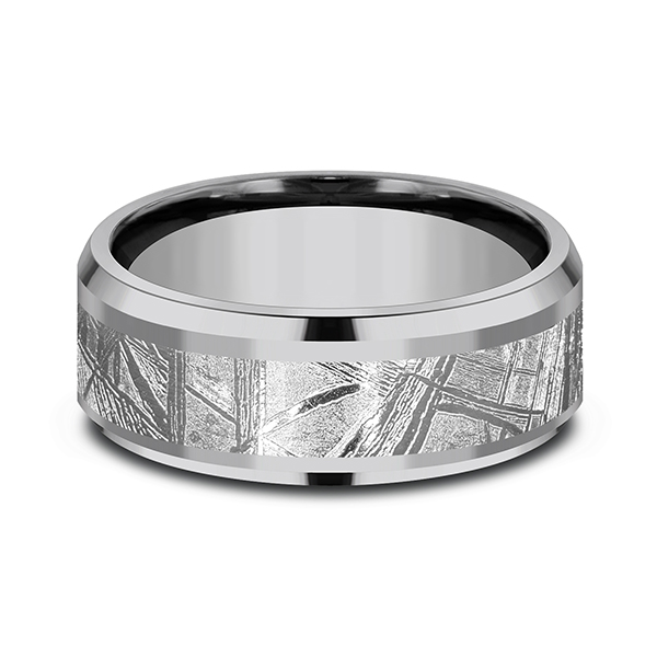 Tantalum and Meteorite Comfort-fit Design Wedding Band Image 3 Simones Jewelry, LLC Shrewsbury, NJ