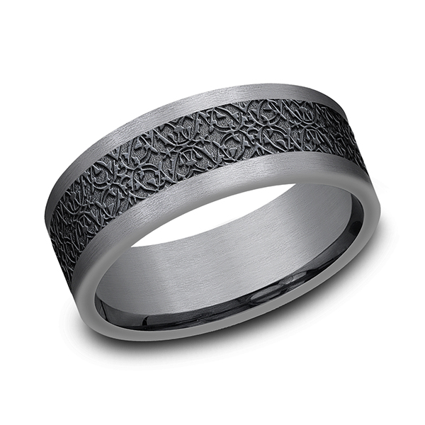 Men's Wedding Bands - Tantalum and Black Titanium Comfort-fit Design Wedding Band