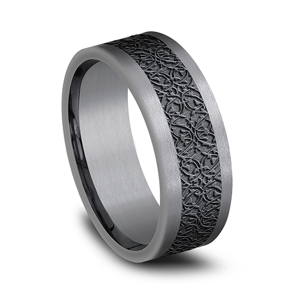 Tantalum and Black Titanium Comfort-fit Design Wedding Band Image 2  ,