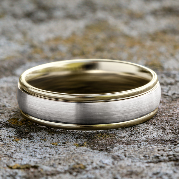 Two Tone Comfort-Fit Design Wedding Ring Image 4 Gala Jewelers Inc. White Oak, PA