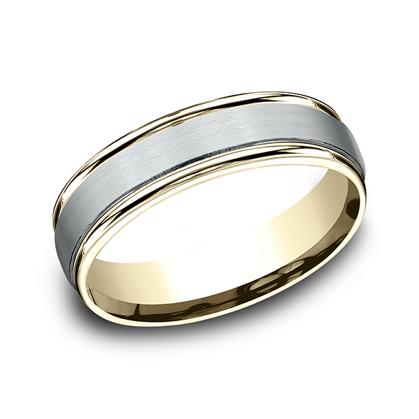 Two Tone Comfort-Fit Design Wedding Ring Arezzo Jewelers Chicago, IL