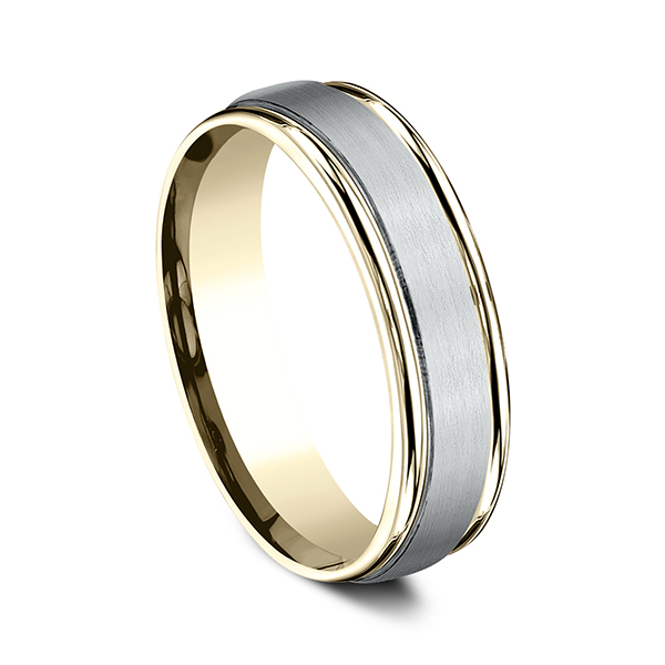 Men's Wedding Bands - Two Tone Comfort-Fit Design Wedding Ring - image #2