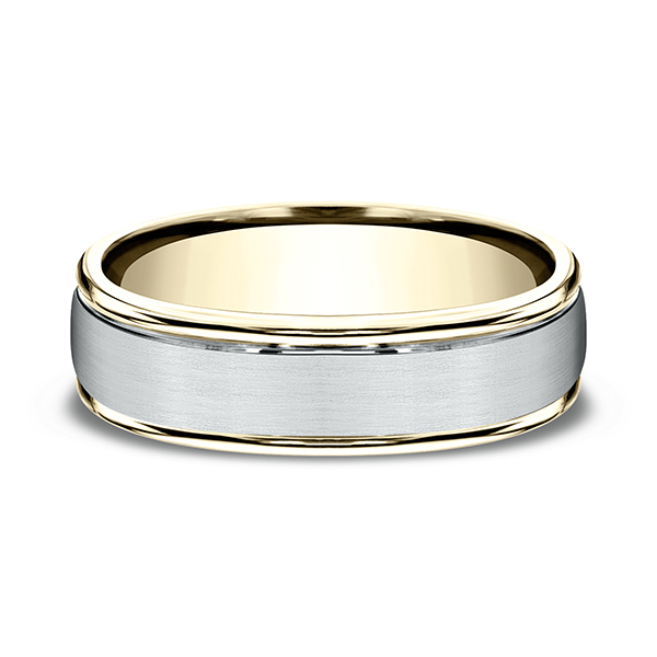 Men's Wedding Bands - Two Tone Comfort-Fit Design Wedding Ring - image #3
