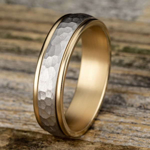 Two Tone Comfort-Fit Design Wedding Band Image 4 H. Brandt Jewelers Natick, MA