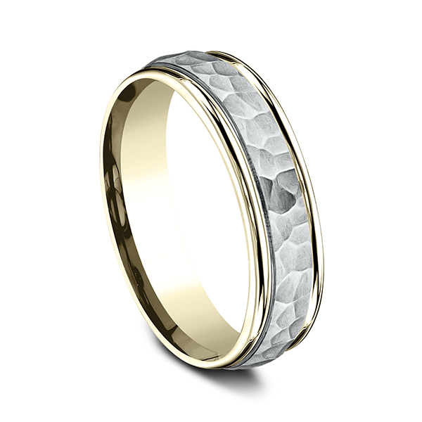 Two Tone Comfort-Fit Design Wedding Band Image 2 Simones Jewelry, LLC Shrewsbury, NJ