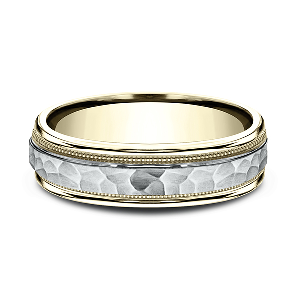 Rings - Two Tone Comfort-Fit Design Wedding Band - image #3