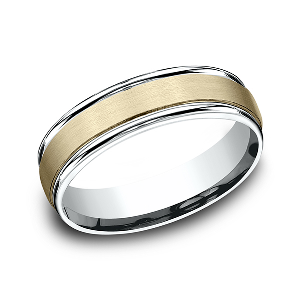 Gold/platinum/palladium Wedding Bands - Two Tone Comfort-Fit Design Wedding Ring