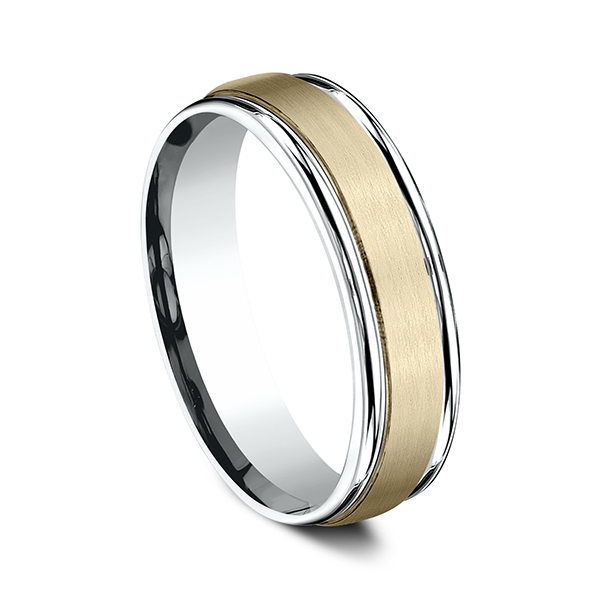 Gold/platinum/palladium Wedding Bands - Two Tone Comfort-Fit Design Wedding Ring - image 2