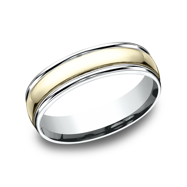 Two Tone Comfort-Fit Design Wedding Ring Simones Jewelry, LLC Shrewsbury, NJ