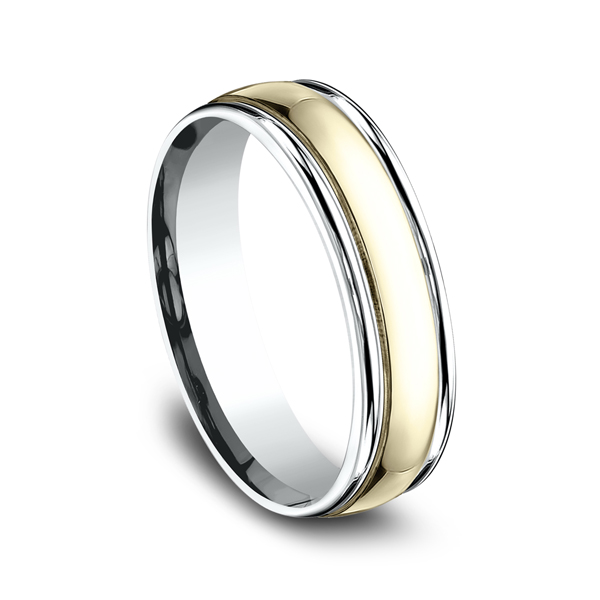 Wedding Rings - Two Tone Comfort-Fit Design Wedding Ring - image 2