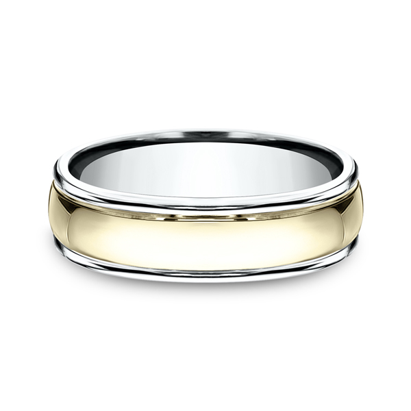 Two Tone Comfort-Fit Design Wedding Ring Image 3 Heller Jewelers San Ramon, CA