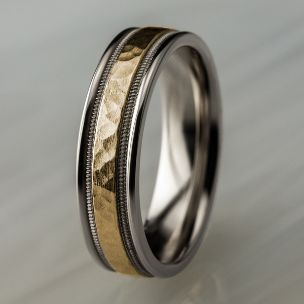 Wedding Bands - Two Tone Comfort-Fit Design Wedding Band - image #4