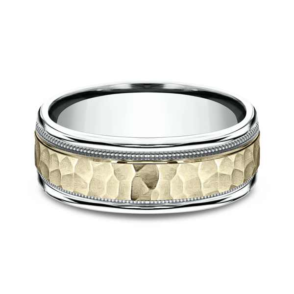 Two Tone Comfort-Fit Design Wedding Ring Image 3 Arezzo Jewelers Chicago, IL