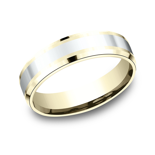 Two-Tone Comfort-Fit Design Wedding Band by Benchmark