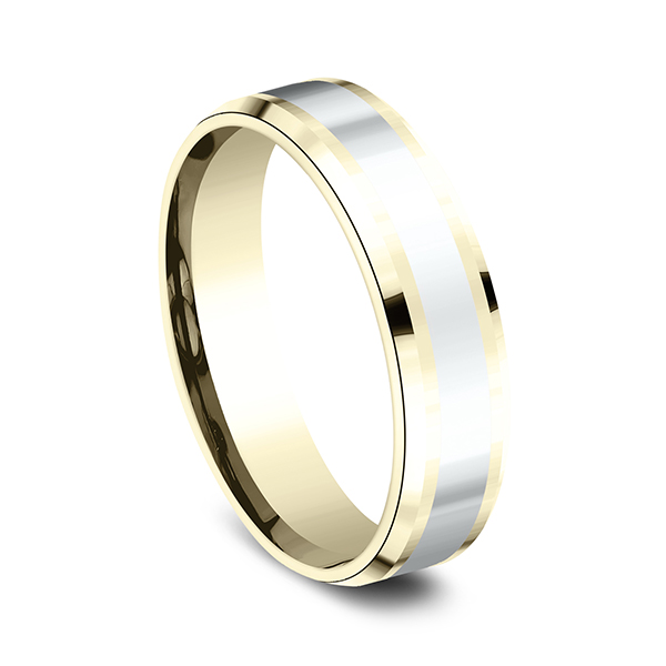 Two-Tone Comfort-Fit Design Wedding Band Image 2  ,
