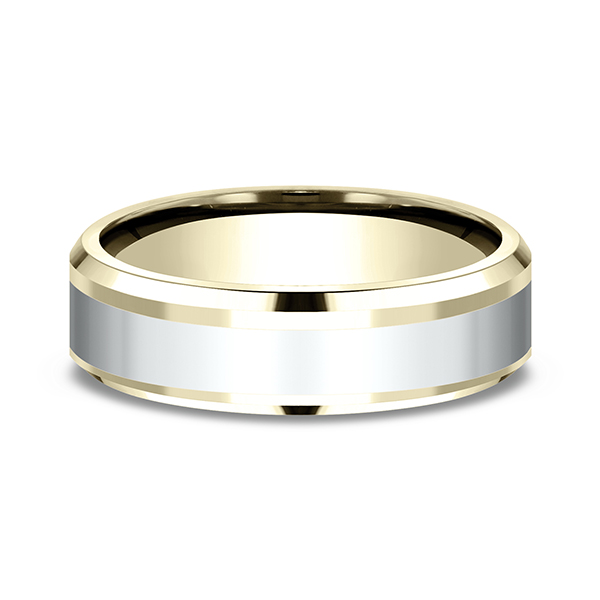 Two-Tone Comfort-Fit Design Wedding Band Image 3  ,