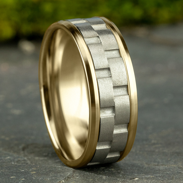 Two-Tone Comfort-Fit Design Wedding Ring Image 4 Heller Jewelers San Ramon, CA