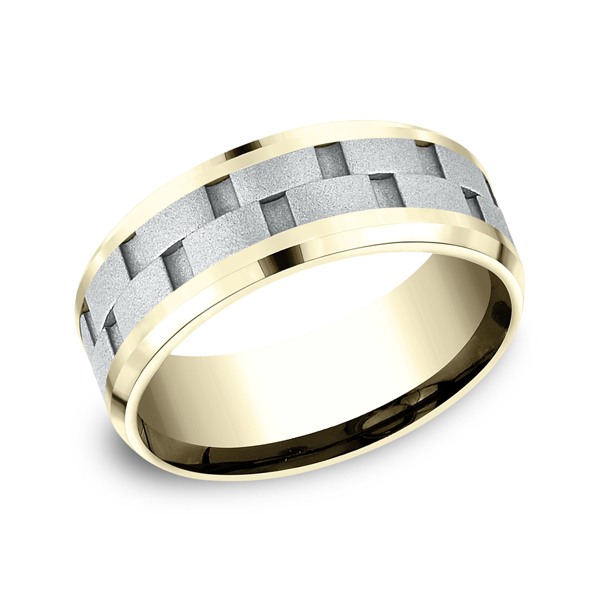 Gold/platinum/palladium Wedding Bands - Two-Tone Comfort-Fit Design Wedding Ring
