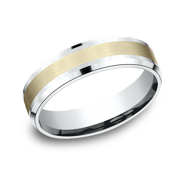 Mens Bands - Two Tone Comfort-Fit Design Ring - image #3