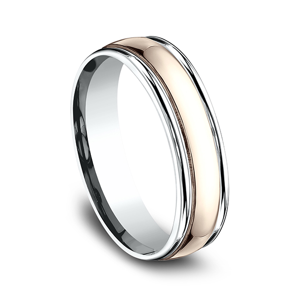 Mens Bands - Two Tone Comfort-Fit Design Ring - image #2
