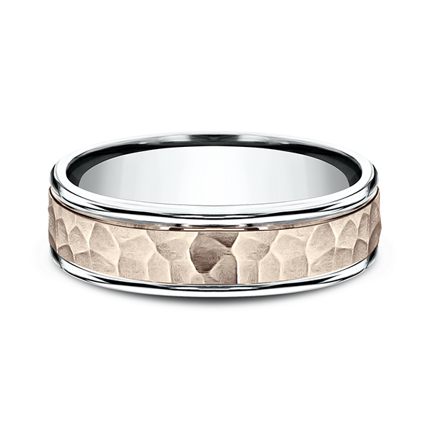 Two Tone Comfort-Fit Design Wedding Band Image 3 Rialto Jewelry San Antonio, TX