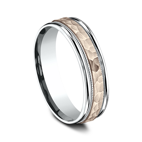 Two Tone Comfort-Fit Design Wedding Ring Image 2 H. Brandt Jewelers Natick, MA