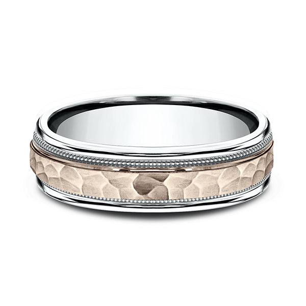 Two Tone Comfort-Fit Design Wedding Ring Image 3 Miner's North Jewelers Traverse City, MI
