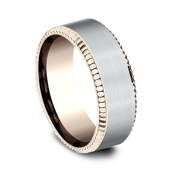 Two Tone Comfort-Fit Design Wedding Ring Image 2 Holly McHone Jewelers Astoria, OR